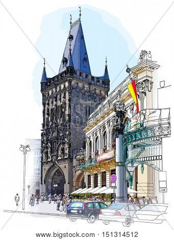 Prague - Powder Tower & Municipal House. Vector architectural color illustration