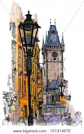 Prague, Czech Republic - a vector color illustration