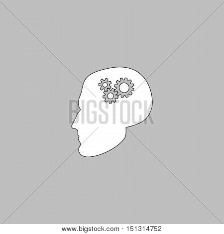 Head gears Simple line vector button. Thin line illustration icon. White outline symbol on grey background