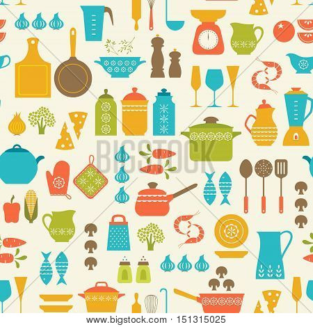 Seamless pattern with kitchen utensils and food.