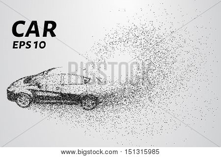 Car from the particles. The vehicle consists of small circles.