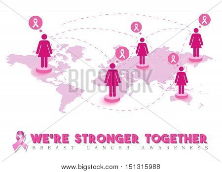 Breast cancer awareness design pink women connected around the world for global support and community help. EPS10 vector.