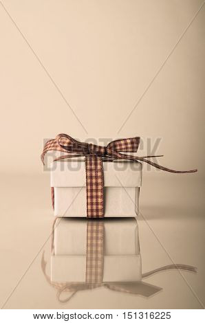 Retrol White Christmas Gift Box With Gingham Ribbon