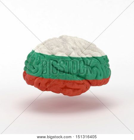 Bulgaria. Flag on Human brain. 3D illustration.