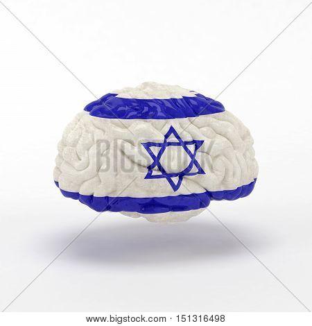 Israel. Flag on Human brain. 3D illustration.