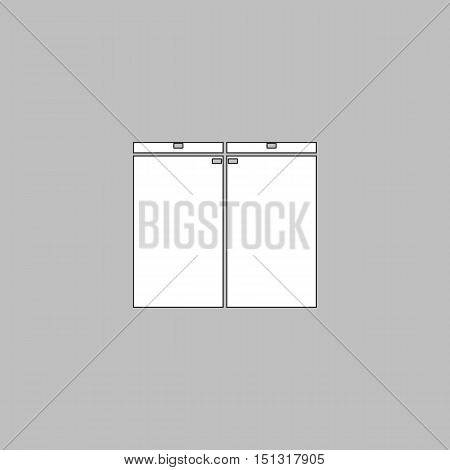 Drawer Simple line vector button. Thin line illustration icon. White outline symbol on grey background