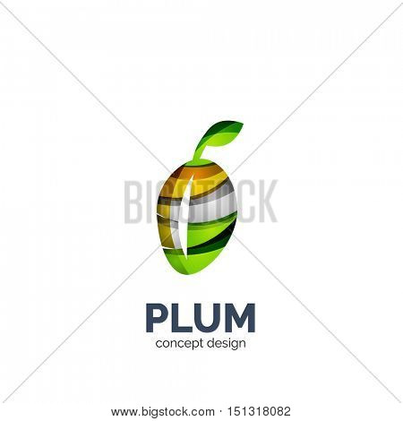Vector creative abstract plum fruit logo created with waves