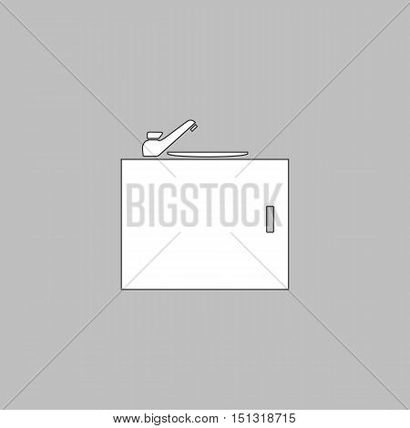 sink Simple line vector button. Thin line illustration icon. White outline symbol on grey background