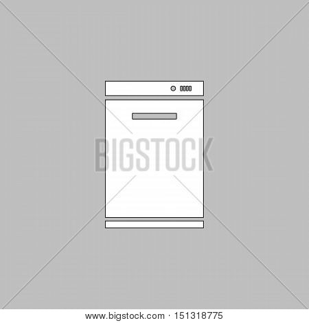 dishwasher Simple line vector button. Thin line illustration icon. White outline symbol on grey background