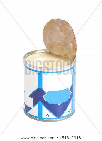 Opened Condensed milk tin can isolated on white