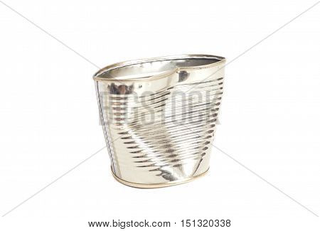 Crumpled metal tin can isolated on white background
