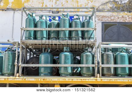 Gas cylinders transport and storage stack green