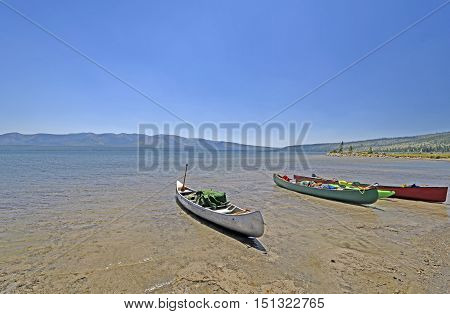Canoes Parked for Lunch on Lewis Lake in Yellowstone National Park