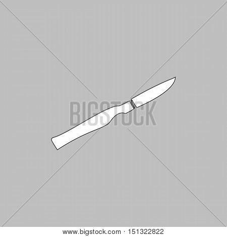 scalpel Simple line vector button. Thin line illustration icon. White outline symbol on grey background