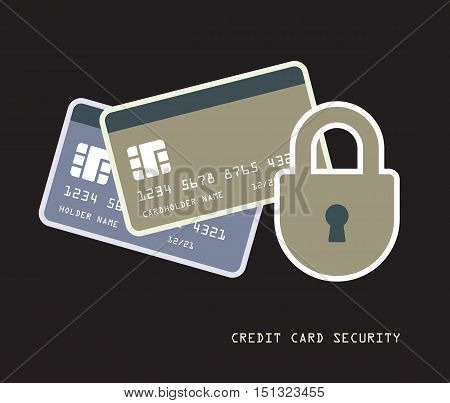 credit cards with padlock security financial concept vector illustration