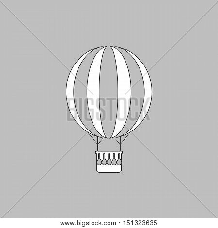 air balloon Simple line vector button. Thin line illustration icon. White outline symbol on grey background