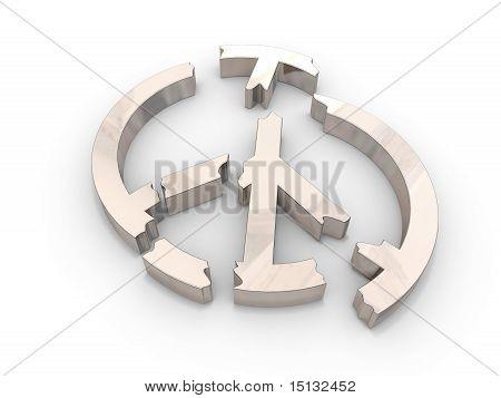 Peace sign broken into pieces