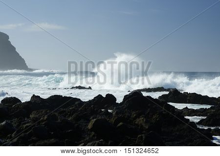 Rocky Beach With Huge Ocean Waves On Beach Of Costadel Buenavista, Tenerife, Canary, Spain