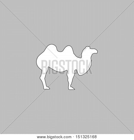 camel Simple line vector button. Thin line illustration icon. White outline symbol on grey background