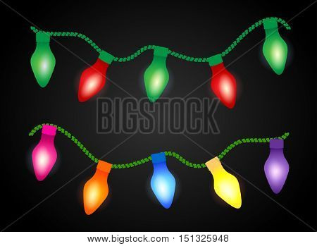 Abstract Christmas background with luminous garland. Christmas lights garlands on white background