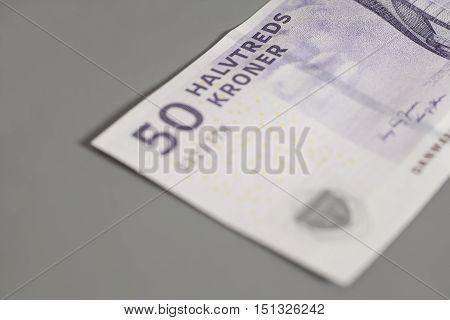 50 danish krone banknote on gray background