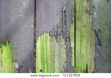 A wooden weathered background with peeled paint.
