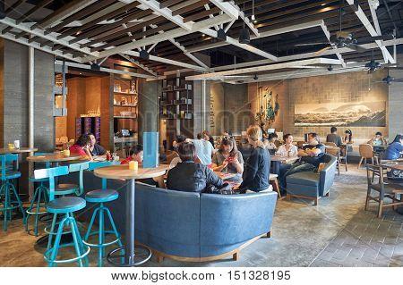 HONG KONG - OCTOBER 25, 2015: inside Kinsale restaurant. Kinsale is a restaurant located in Hong Kong's Kennedy Town.