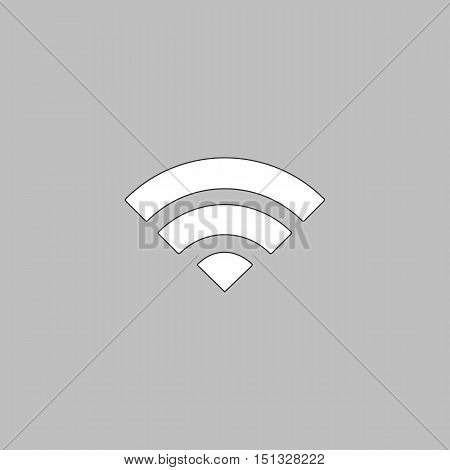 wifi Simple line vector button. Thin line illustration icon. White outline symbol on grey background