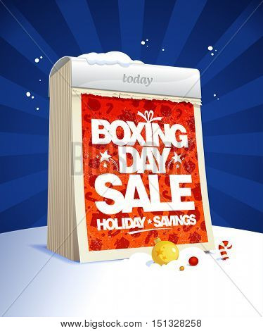 Boxing day sale design with tear-off calendar, winter holiday savings poster