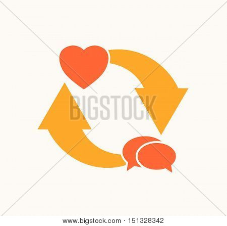 heart symbol with speech bubbles and cycled arrows love communication cycle vector illustration