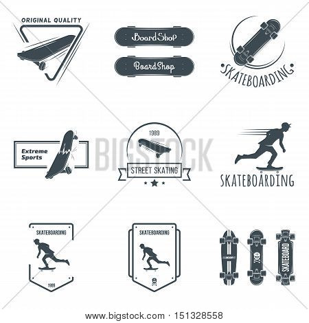 Longboard retro emblems. Graphic design for t-shirt. Dark print on white background