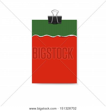 Empty vector vertical paper poster mockup and piece of paper with ripped edges of Merry Christmas and Happy new year colors and big paper clip on them.