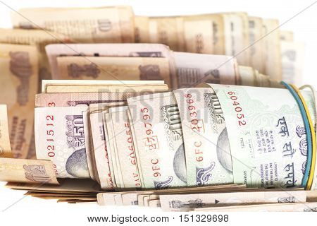 Indian Currency Rupee Notes isolated on white