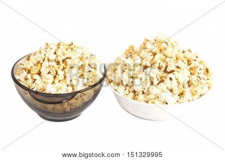 Bowls of popcorn isolated on white background