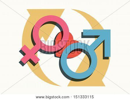 male female heart cycling symbols modern relationship gender concept vector illustration