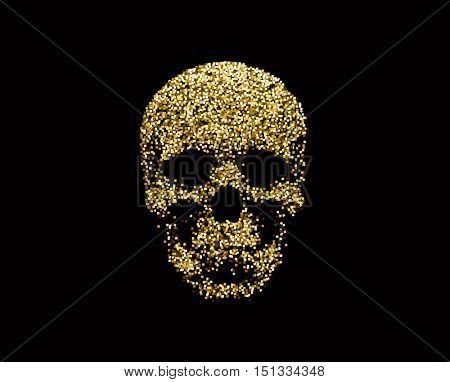 Vector golden sparkling human skull. Design element for Halloween.
