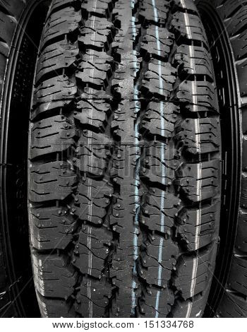 Tread block pattern of studless winter tire macro shot