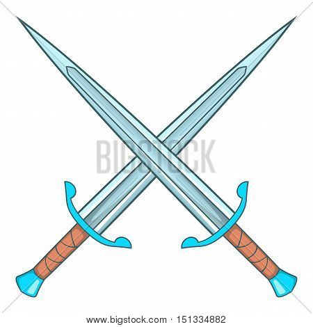 Crossed swords icon. Cartoon illustration of crossed swords vector icon for web