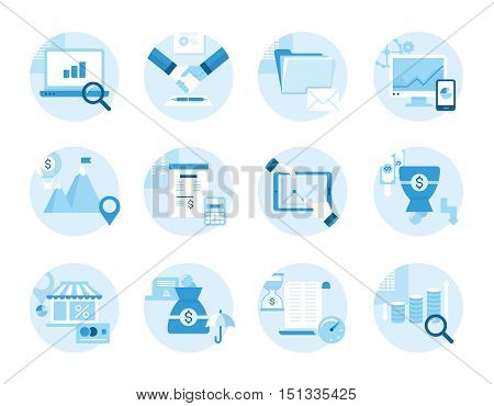 Set of icons on the topic of business, business management, profit. Made in a flat style.