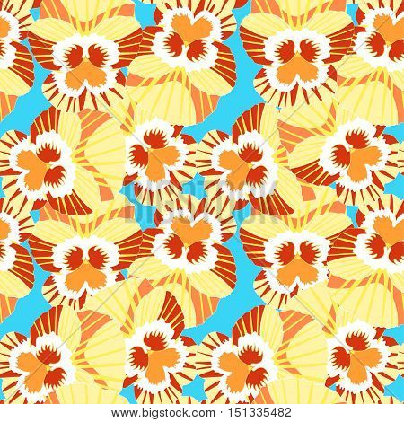 Seamless Pattern Of Orange Flowers Violet Pansies. Vector Illustration