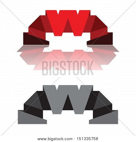 Letter W stylized company logo emblem original vector design