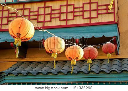 Beautiful red Chinese lanterns in Chinatown of Los Angeles, California, USA