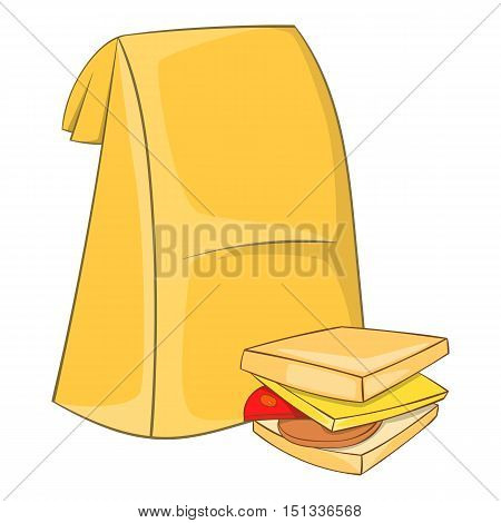 Lunch bag and sandwich icon. Cartoon illustration of lunch bag and sandwich vector icon for web