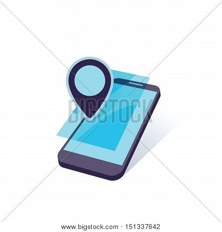 mobile device with geo location mark vector illustration