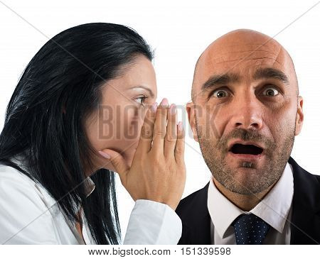 Woman talking in secret to a man