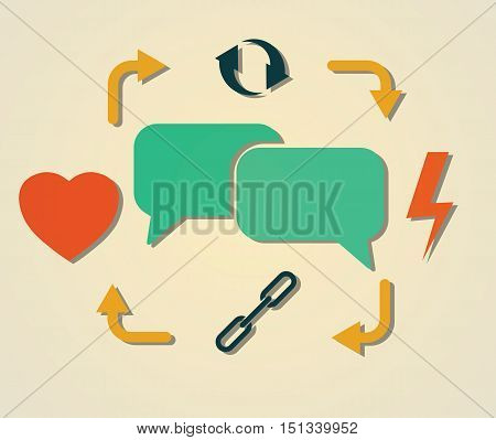 heart, lightning, chains, cycling and speech bubles symbol as people communication cycle abstract vector illustration