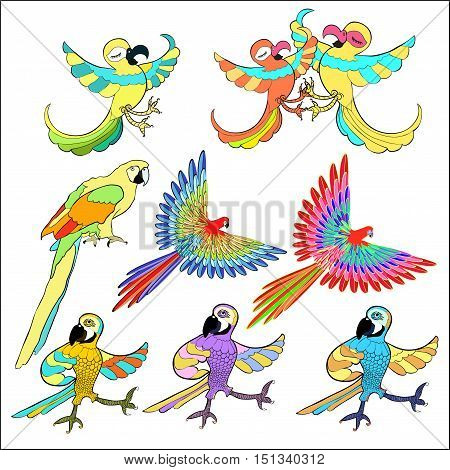 set of golden Caribbean parrot dancing vector illustration