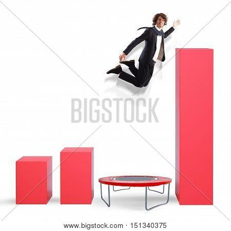 Businessman that Jumps high to better statistics