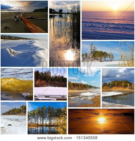 Collage With Photos Of The Siberian River Ob