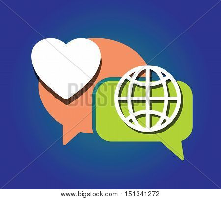 heart, earth globe, symbol as and speech bubble as love peace communication concept vector illustration
